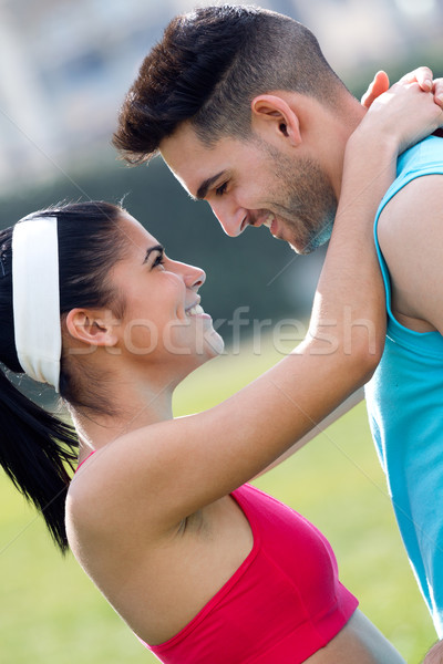 Young couple in the park after exercise Stock photo © nenetus