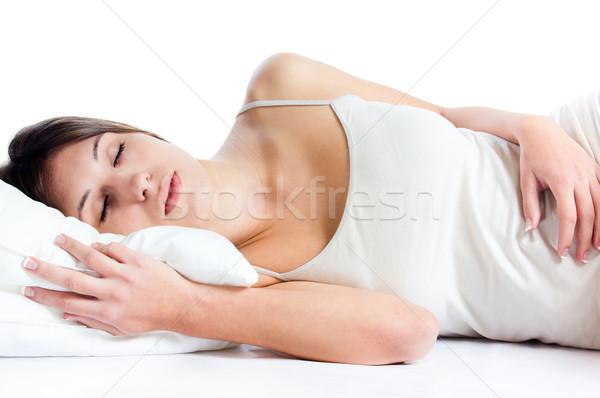 Vrouw slapen witte portret jonge vrouw Stockfoto © nenetus