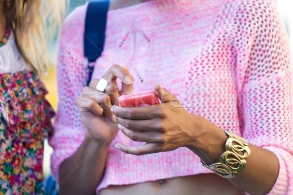 若い女の子 携帯電話 通り 肖像 少女 市 ストックフォト © nenetus