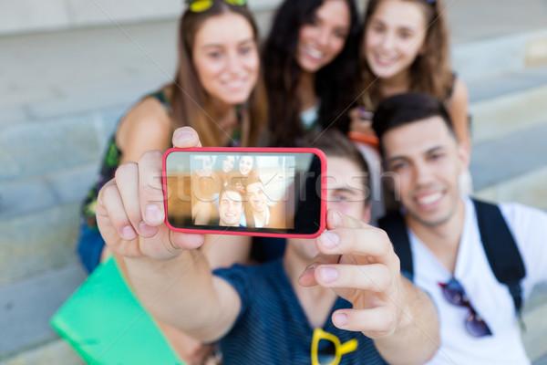 Grupo amigos fotos rua Foto stock © nenetus
