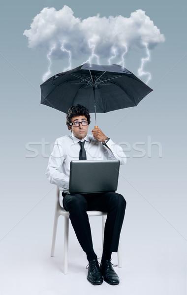 Businessman having problems with cloud computing technology Stock photo © nenetus