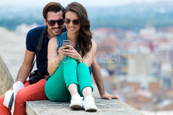 Toeristische stad mobiele telefoon portret telefoon Stockfoto © nenetus