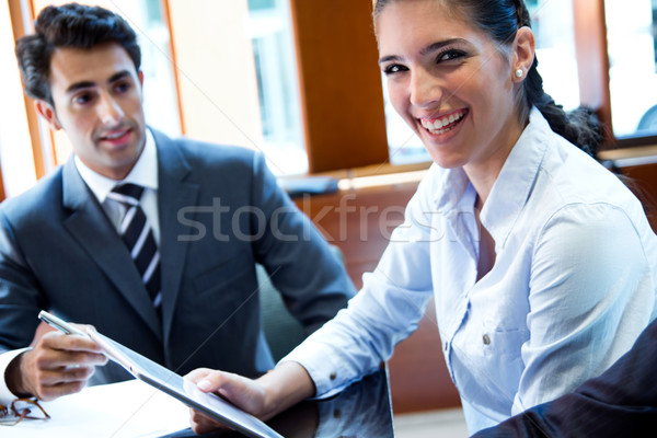 A business team of two sitting in office and planning work Stock photo © nenetus