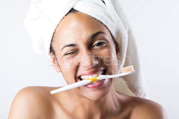Mulher jovem banheiro bastante mão mulheres casa Foto stock © nenetus