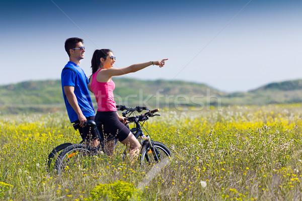 Felice bike campagna primavera ritratto Foto d'archivio © nenetus