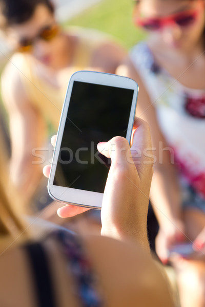Groep vrienden smart telefoons park Stockfoto © nenetus