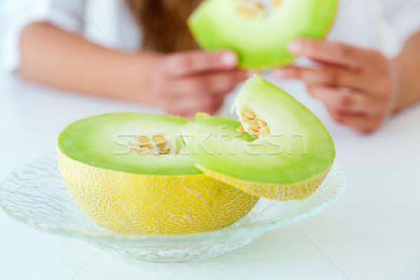 Melon portrait fille texture fruits été Photo stock © nenetus
