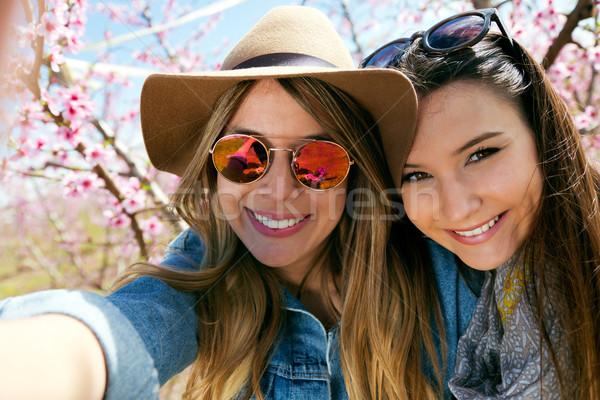 Two beautiful young women taking a selfie in the field. Stock photo © nenetus