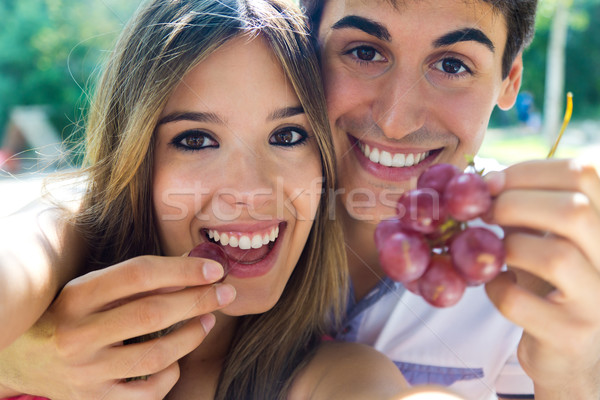 Young couple eating grapes on romantic picnic in countryside. Stock photo © nenetus