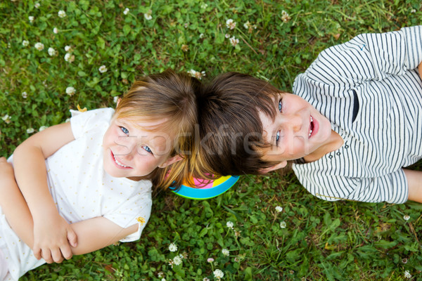 Foto d'archivio: Felice · giovani · fratelli · erba · ritratto · ragazza