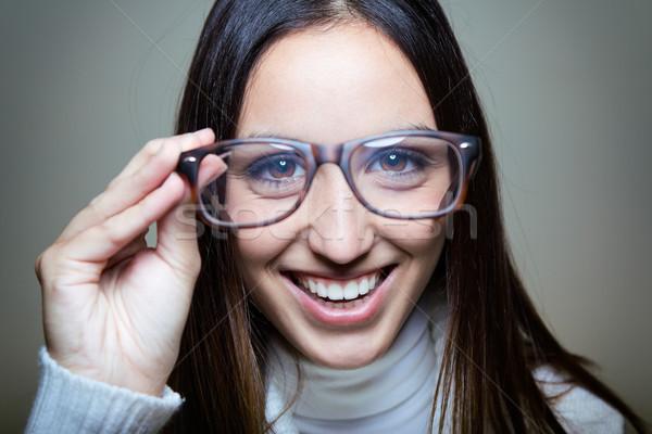 Funny young  woman wear glasses Stock photo © nenetus