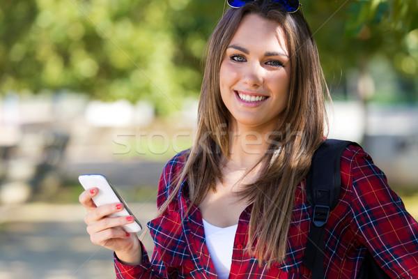 肖像 美少女 携帯電話 市 屋外 電話 ストックフォト © nenetus