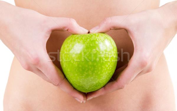 woman hands holding an green apple Stock photo © nenetus