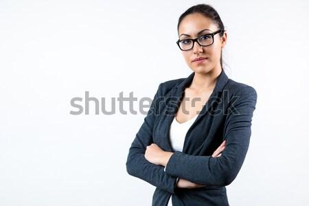 Gülen iş kadını silah yalıtılmış beyaz portre Stok fotoğraf © nenetus