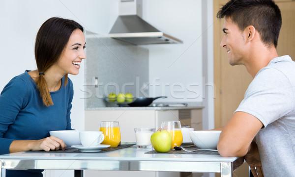 Stockfoto: Genieten · ontbijt · keuken · gelukkig · voedsel