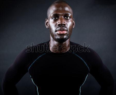 Sportlich Mann läuft schwarz Porträt Männer Stock foto © nenetus