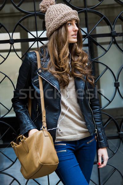 肖像 美しい 若い女性 市 屋外 顔 ストックフォト © nenetus
