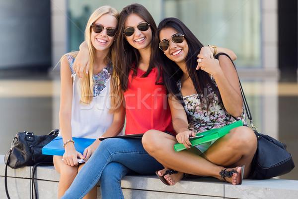 Pretty student girls having fun at the campus Stock photo © nenetus