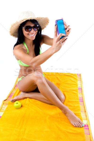 Bella giovane ragazza verde bikini Foto d'archivio © nenetus
