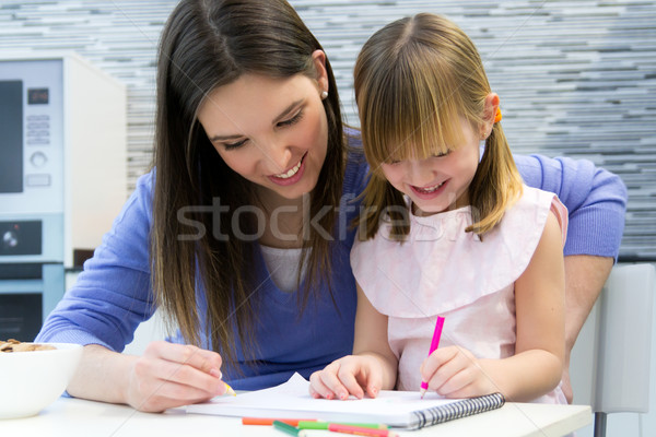 Child drawing with crayons with her mom at home Stock photo © nenetus