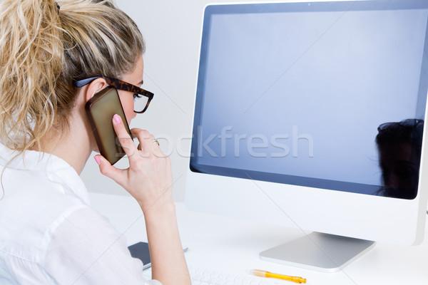 Arbeiten home Computer sprechen Telefon Stock foto © nenetus