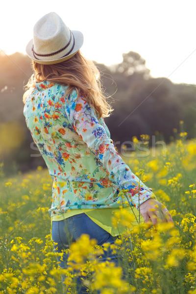 美しい 若い女性 夏 フィールド 肖像 ストックフォト © nenetus