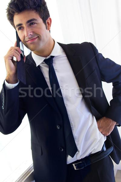 Jovem empresário falante retrato negócio Foto stock © nenetus