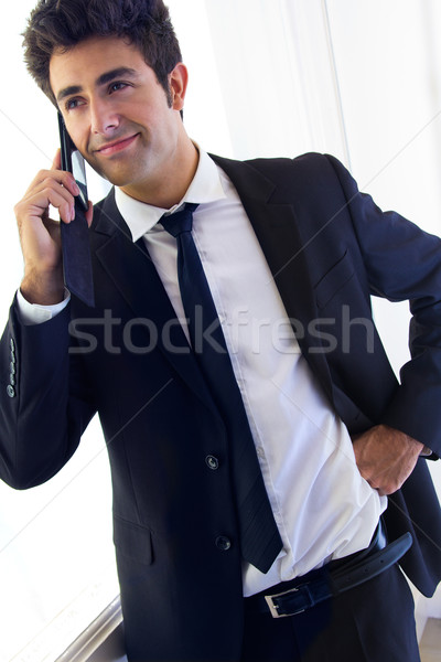 Jonge zakenman praten smartphone portret business Stockfoto © nenetus