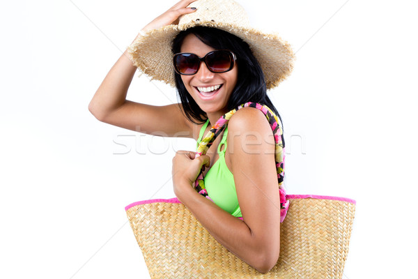 Happy young girl with hat and green bikini Stock photo © nenetus