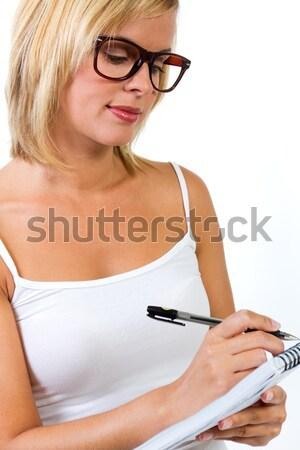 Jonge werknemer vrouw digitale tablet kantoor Stockfoto © nenetus