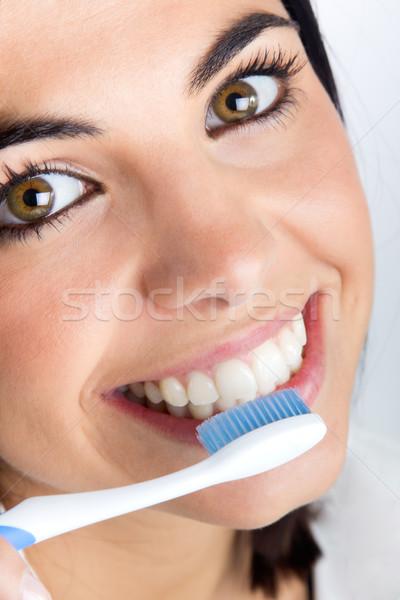Mooie jonge vrouw tanden portret vrouw Stockfoto © nenetus