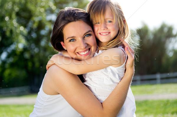ストックフォト: 母親 · 娘 · 屋外 · 肖像 · 笑顔