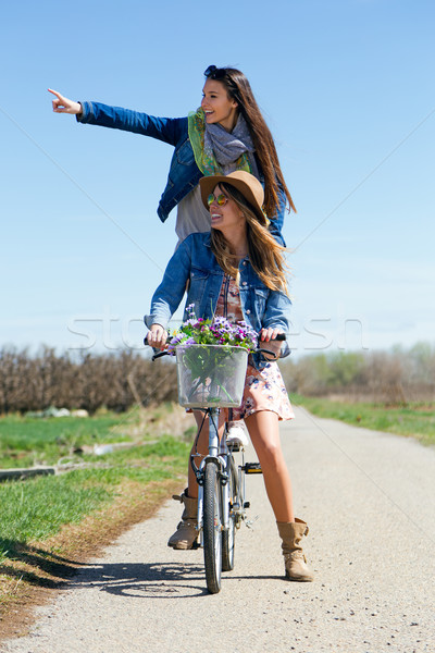 Two beautiful young women with a vintage bike in the field. Stock photo © nenetus