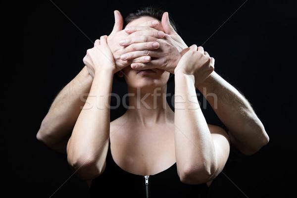 Genç kadın gözler kapalı erkek eller portre Stok fotoğraf © nenetus