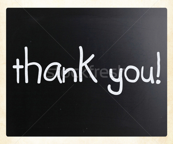 'Thank you' handwritten with white chalk on a blackboard Stock photo © nenovbrothers