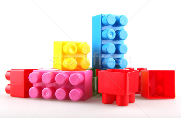 Műanyag tömbházak gyermek kék piros játék Stock fotó © nenovbrothers