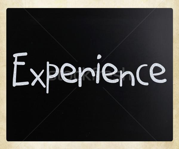 Kelime deneyim beyaz tebeşir tahta Stok fotoğraf © nenovbrothers