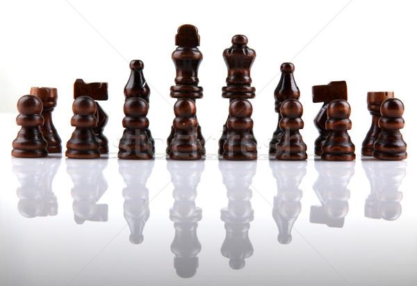 Schaakstuk hout oorlog macht succes witte Stockfoto © nenovbrothers