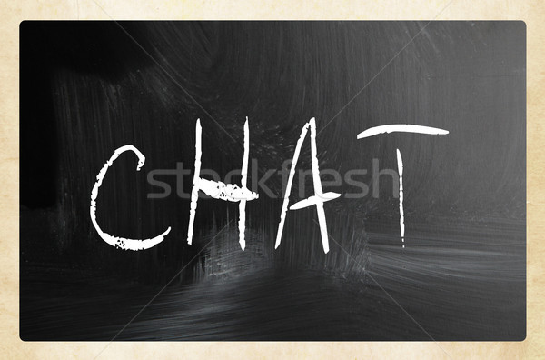 The word 'Chat' handwritten with white chalk on a blackboard Stock photo © nenovbrothers