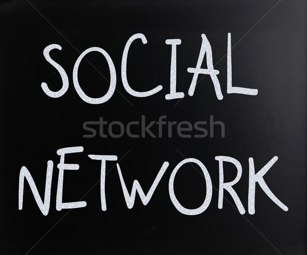 'Social network' handwritten with white chalk on a blackboard Stock photo © nenovbrothers