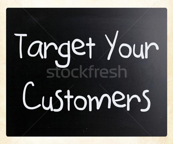 Stock fotó: Cél · vásárlók · kézzel · írott · fehér · kréta · iskolatábla