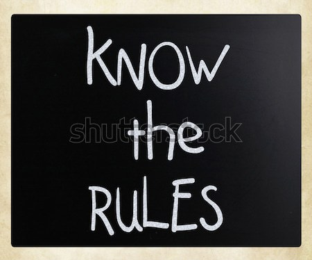 Know the rules - handwritten with white chalk on a blackboard Stock photo © nenovbrothers