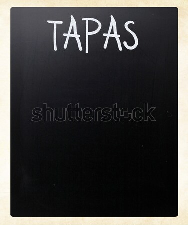 Tapas blanche craie tableau noir bar Photo stock © nenovbrothers