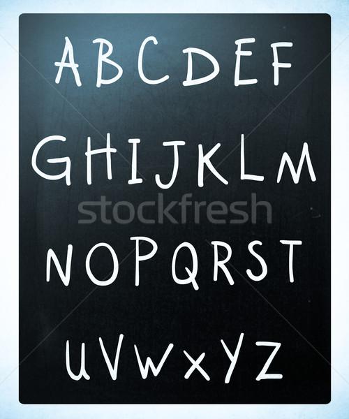 Stockfoto: Compleet · Engels · alfabet · witte · krijt