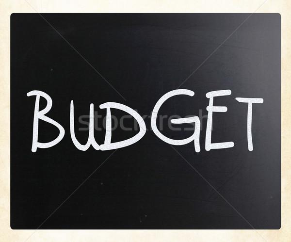 Költségvetés kézzel írott fehér kréta iskolatábla üzlet Stock fotó © nenovbrothers