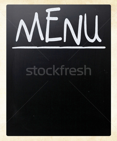 Blank blackboard with white chalk smudges used a restaurant menu Stock photo © nenovbrothers