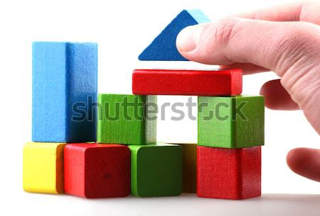 ストックフォト: 木製 · ビルディングブロック · 孤立した · 白 · 木材 · 背景