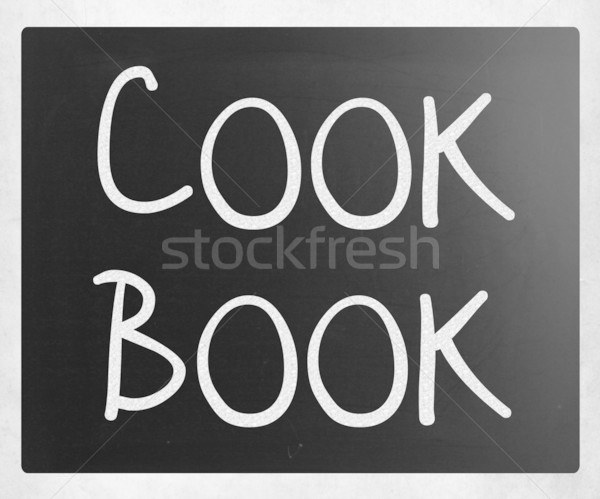 ストックフォト: 調理 · 図書 · 白 · チョーク · 黒板
