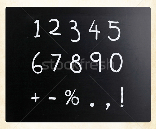 'Numbers' handwritten with white chalk on a blackboard Stock photo © nenovbrothers