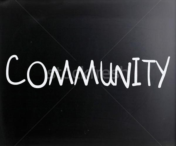 コミュニティ 白 チョーク 黒板 教育 ストックフォト © nenovbrothers